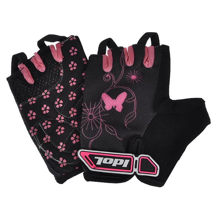 Перчатки велосипедные Idol, цвет: черный, розовый. 878. Размер S