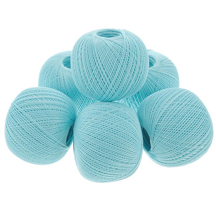 """Нитки вязальные """"Роза"""", хлопчатобумажные, цвет: голубой (3002), 320 м, 50 г, 6 шт"""