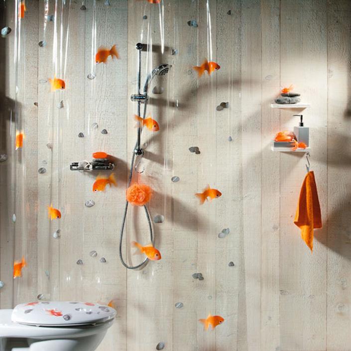 Штора для ванной комнаты Goldfish orange, 180 х 200 см цена