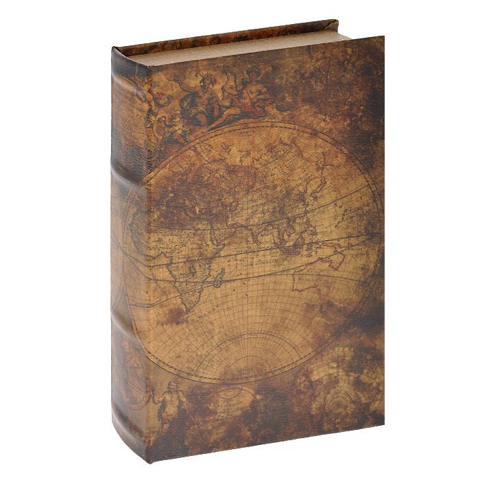 Шкатулка-фолиант Вокруг света, цвет: светло-коричневый, 26 х 17 х 5 см 184161 шкатулка фолиант win max букет 17 х 12 х 6 см