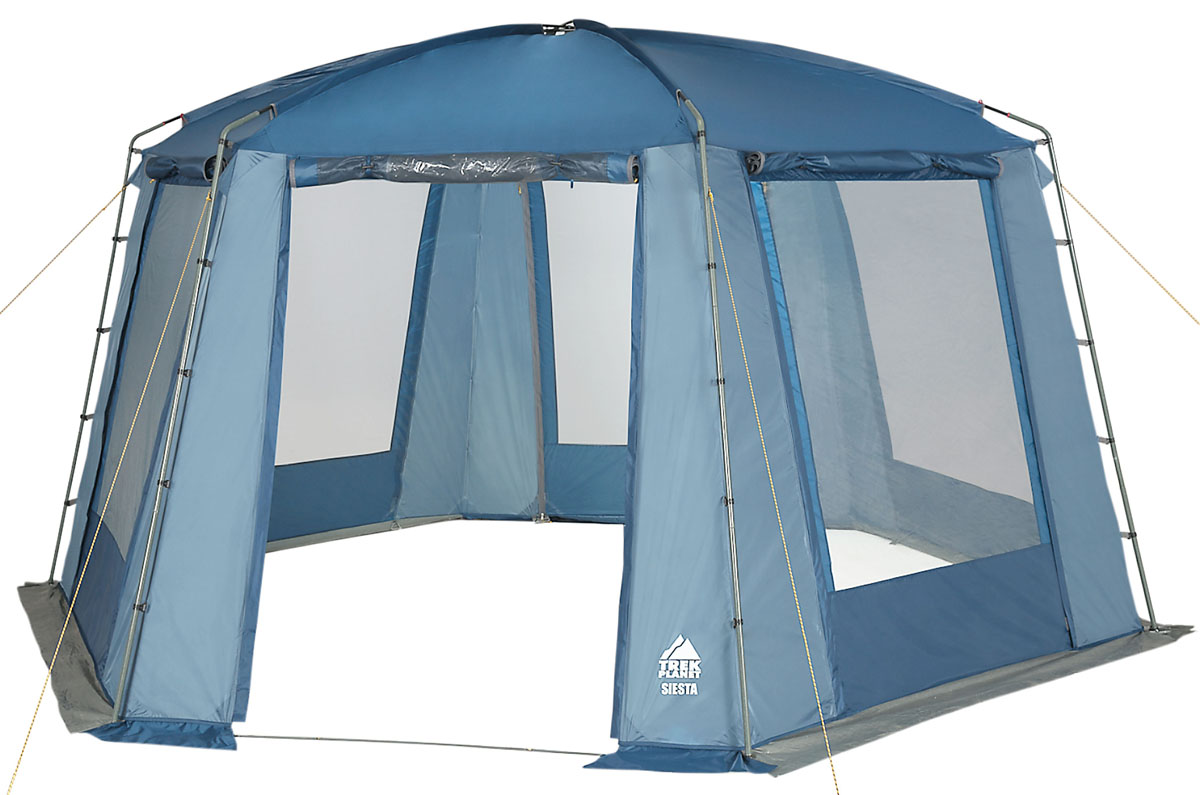"Шатер-тент TREK PLANET ""SIESTA"", шестиугольной формы, 460 см х 400 см х 210 см, цвет: синий, голубой"
