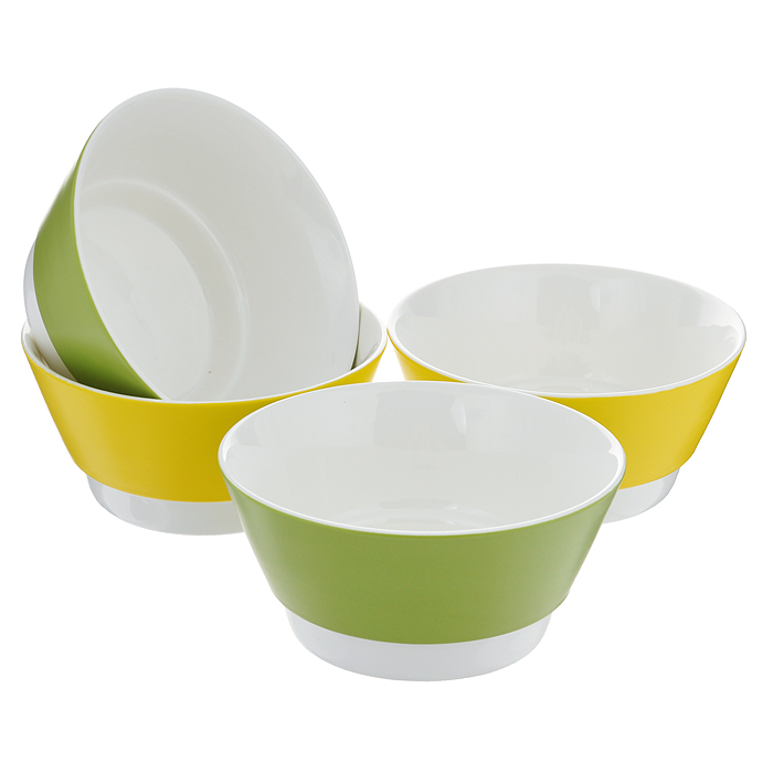 """Набор салатников """"BartonSteel"""", цвет: зеленый, желтый, 700 мл, 4 шт"""