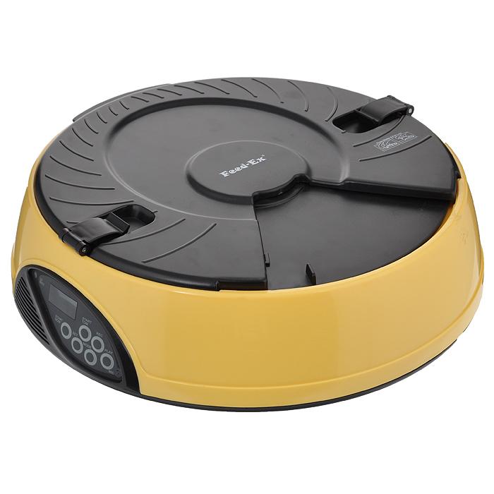 Автоматическая кормушка Feed-Ex, на 6 кормлений, цвет: желтый кормушка автоматическая feed ex для сухого корма цвет черный 6 7 кг