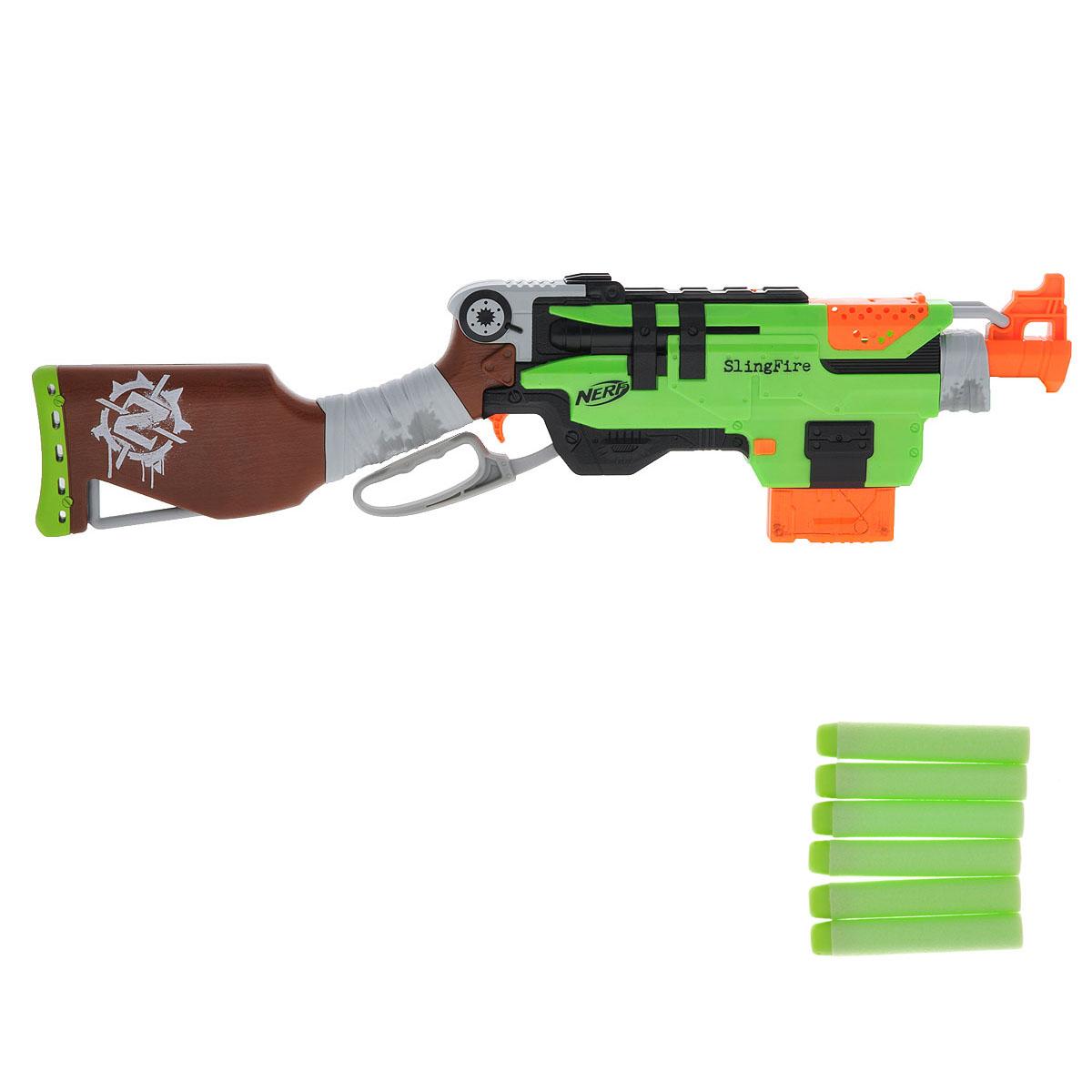 Nerf Бластер Zombie Strike: Slingfire с патронами цвет салатовый коричневый оранжевый