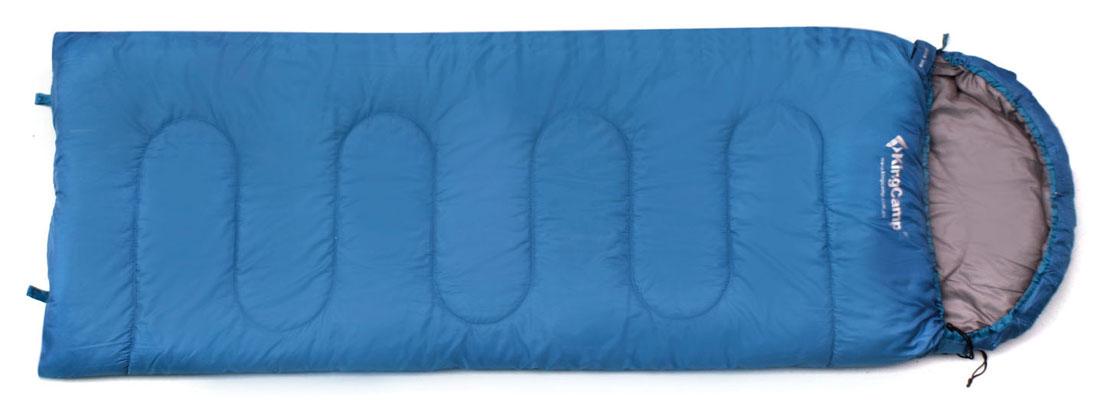 Спальный мешок-одеяло KingCamp Oasis 250 KS3121, правосторонняя молния, цвет: синий спальник woodland pilot 250