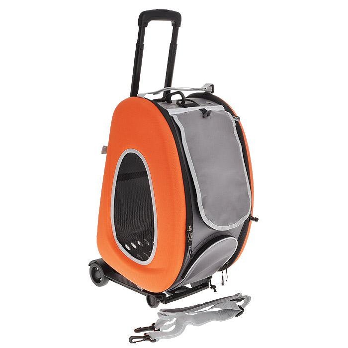 "Cумка-тележка для собак 3в1 ""Ibiyaya"", до 8 кг, цвет: оранжевый, 34 см х 30 см х 58 см"