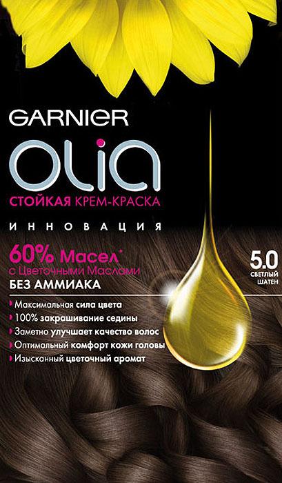Garnier Стойкая крем-краска для волос Olia без аммиака, оттенок 5.0 Светлый шатен medisana air сменный фильтр 3м для очистителя воздуха