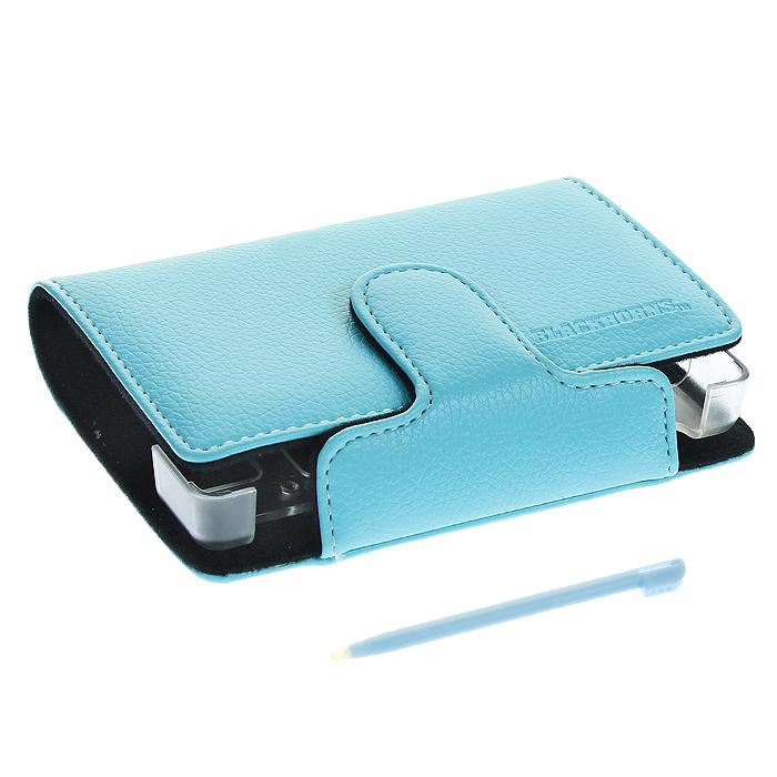 лучшая цена Кожаный чехол со стилусом для приставки DS Lite (цвет голубой)