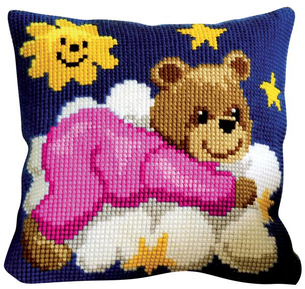 """Набор для вышивания подушки Vervaco """"Мишка в розовом на облаке"""", 40 х 40 см"""