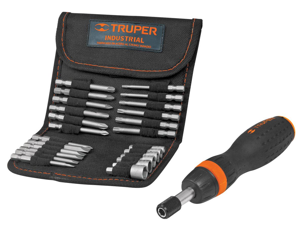 цена на Отвертка с трещоткой и битами Truper JDM-26, 26 предметов