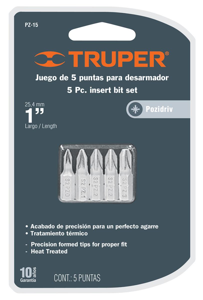 Набор бит Truper, PZ x 25 мм, 5 шт цена
