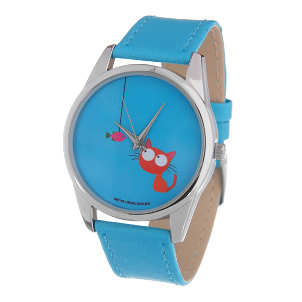 Часы Mitya Veselkov Кошка и рыбка (голубой). Color-60 все цены