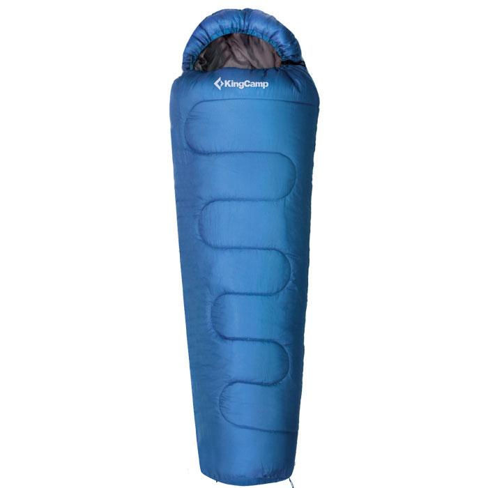 Спальный мешок KingCamp Treck 200 KS3191, правосторонняя молния, цвет: синий спальный мешок kingcamp treck 300 ks3131 правосторонняя молния цвет серый