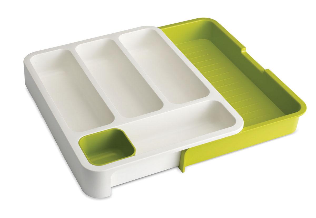 """Органайзер для столовых приборов Joseph Joseph """"DrawerStore"""", раздвижной, цвет: белый, зеленый, 29 х 36 х 5,5 см"""