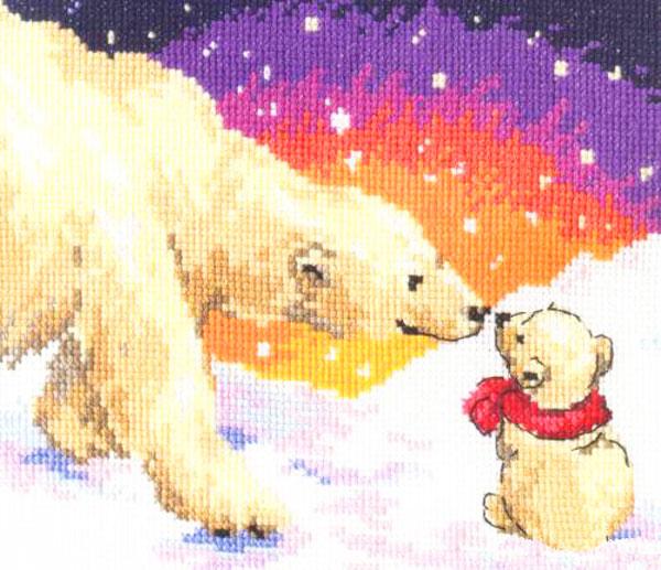 Набор для вышивания крестом Алиса Белые медведи, 20 см х 16 см цена