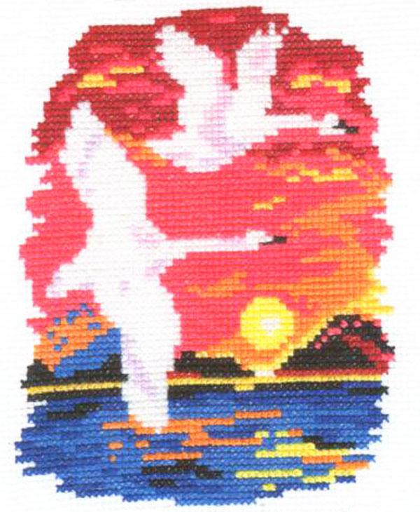 Набор для вышивания крестом Алиса Лебеди, 11 см х 14 см цена