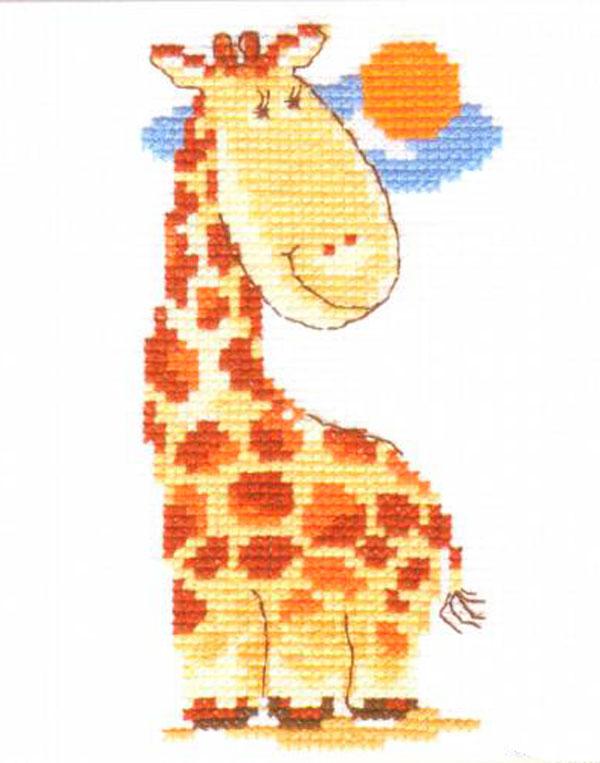 Набор для вышивания крестом Жирафик, 7 см х 13 см. 0-39 набор для вышивания крестом алиса ремез 15 х 18 см
