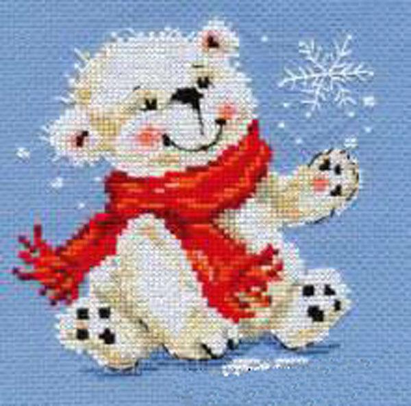 """Набор для вышивания крестом """"Белый медвежонок"""", 12 х 13 см"""