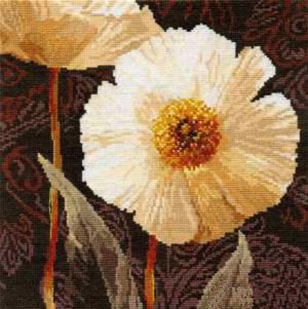 """Набор для вышивания крестом """"Белые цветы. Открытый свету"""", 25 см х 25 см"""