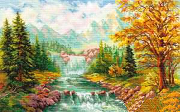 Набор для вышивания крестом Горный водопад, 41 см х 26 см. 661129 набор для вышивания крестом сирень 41 х 32 см 661158
