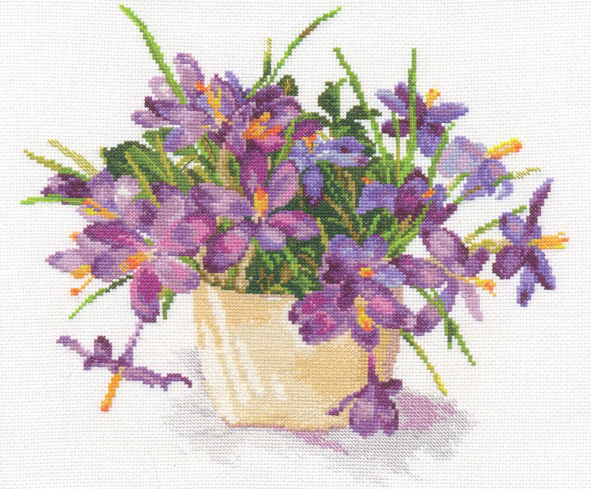 Набор для вышивания крестом Цветущий сад. Крокусы, 29 х 26 см 661177 набор для вышивания крестом хрустальная бабочка 31 см х 40 см