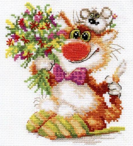 Набор для вышивания крестом Алиса Спешим поздравить!, 13 см х 15 см набор для вышивания крестом пейзаж в овале 13 х 15 см с 091