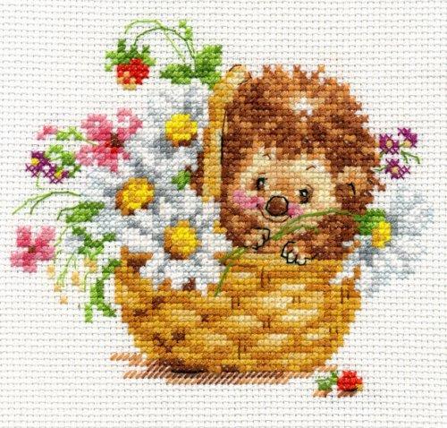 Набор для вышивания крестом Алиса Ежик в ромашках, 13 х 11 см набор для вышивания крестом пейзаж в овале 13 х 15 см с 091