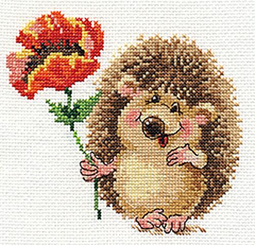 Набор для вышивания крестом Алиса Ежик с маком, 14 см х 13 см набор для вышивания крестом пейзаж в овале 13 х 15 см с 091