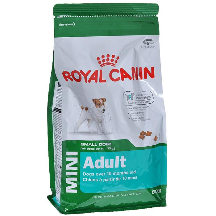 """Корм сухой Royal Canin """"Mini Adult"""", для собак мелких размеров с 10 месяцев до 8 лет, 800 г"""