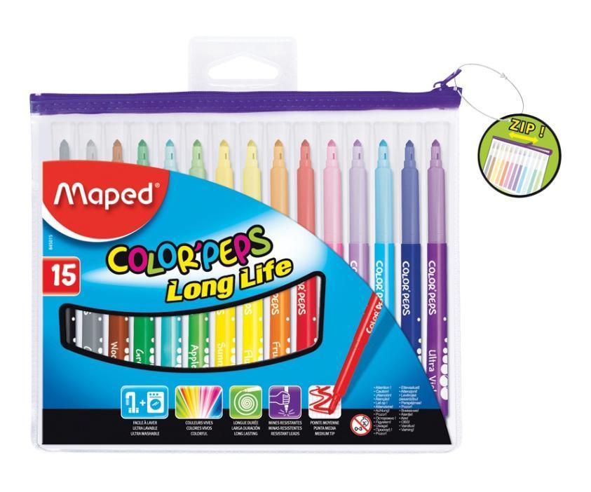 Фото - Фломастеры Maped Color'peps, 15 цветов maped фломастеры maped color peps long life 12 цветов