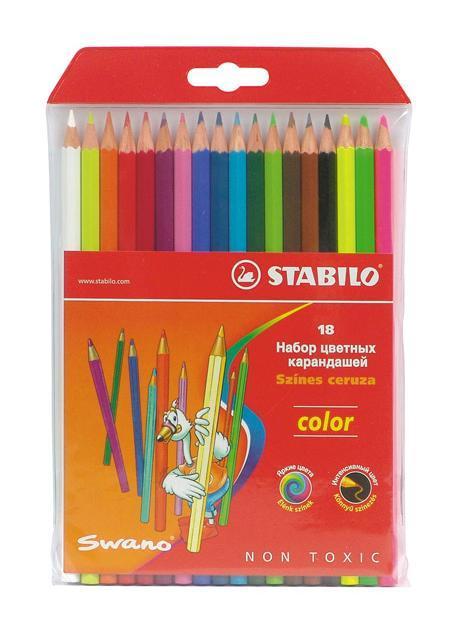 Набор цветных карандашей Stabilo Color, 18 цветов цветные карандаши stabilo 12 цветов