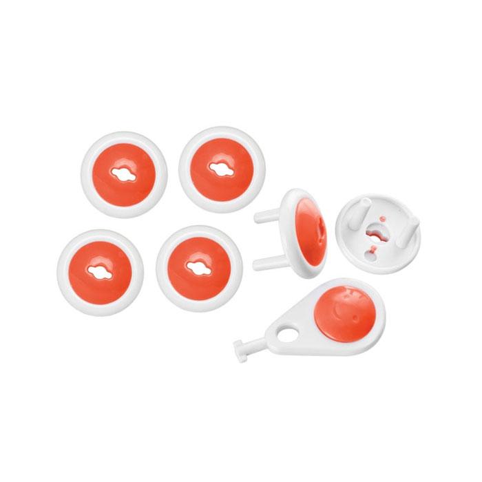 Набор заглушек для розеток Мир детства, цвет: белый, оранжевый, 6 шт
