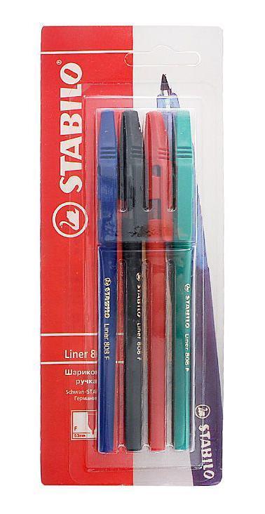 Набор шариковых ручек Stabiliner, цветные, 4 шт. 808/4-1B набор шариковых ручек мини stabilo ghost 3 шт