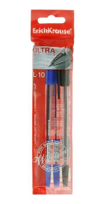 Набор шариковых ручек Erich Krause Ultra L-10, цвет: синий, черный, 4 шт набор шариковых ручек avantre airy цвет синий черный 4 шт