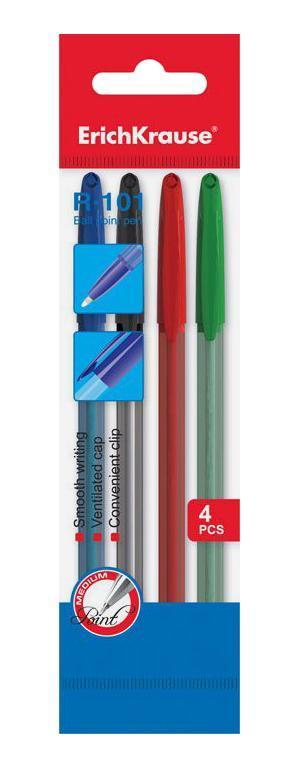 Ручка шариковая ErichKrause R-101, цвет чернил синий, черный, красный, зеленый, 4 шт ручка гелевая erichkrause g soft цвет чернил синий черный красный 3 шт