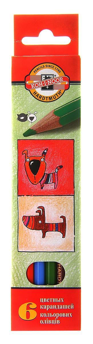 """Цветные карандаши """"Собаки и Кошки"""", 6 цветов"""