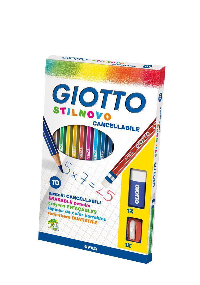 """Цветные карандаши Giotto """"Stilnovo Cancellabile"""" с ластиком и точилкой, 10 цветов"""