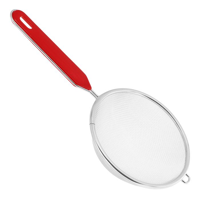 Сито Regent Inox Pronto с пластиковой ручкой, цвет: стальной, красный. Диаметр 12 см терка regent inox presto шестигранная цвет чёрный красный стальной 21 см 93 ac gr 45