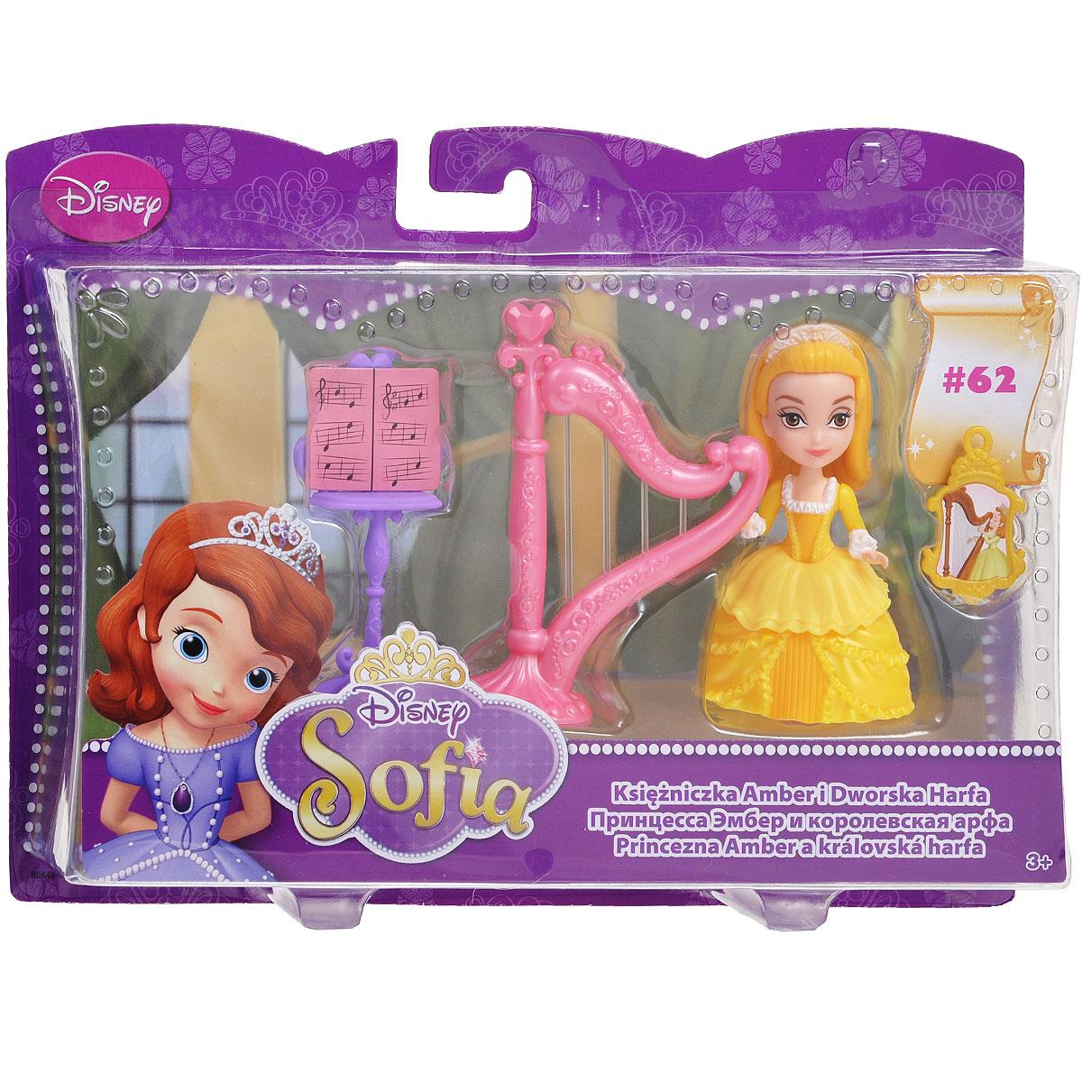 Sofia the FirstИгровой набор с миникуклой Принцесса Эмбер и королевская арфа .