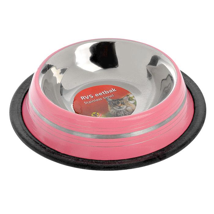 """Миска для кошек """"I.P.T.S."""", стальная, цвет: розовый, 180 мл"""