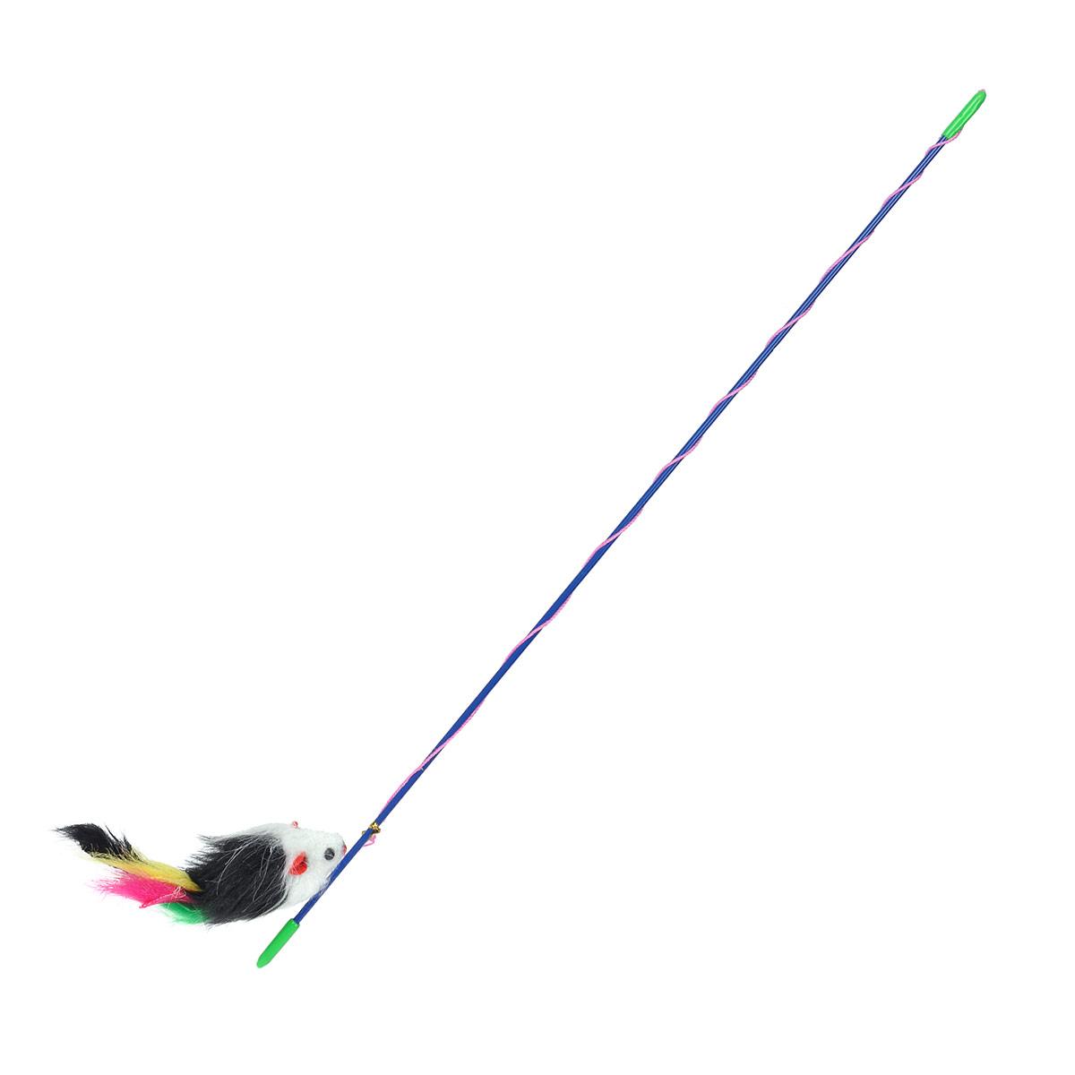 """Игрушка для кошек I.P.T.S. """"Удочка с мышью и перьями"""", длина 46 см"""