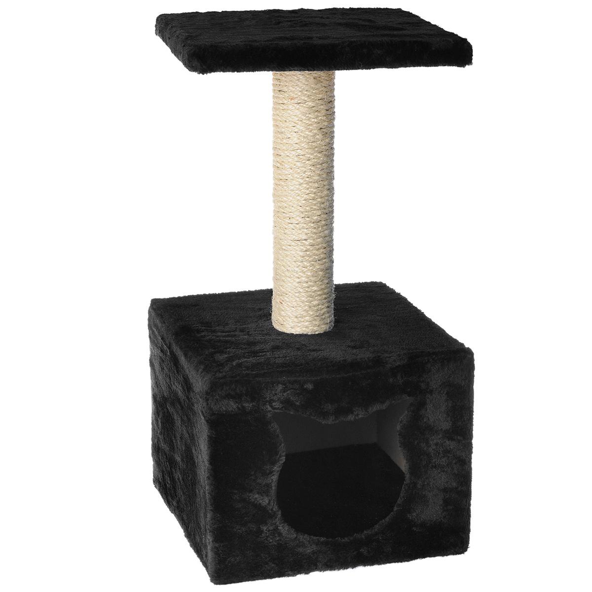 """Домик-когтеточка """"I.P.T.S."""", с площадкой, цвет: черный, 30 см х 30 см х 60 см"""