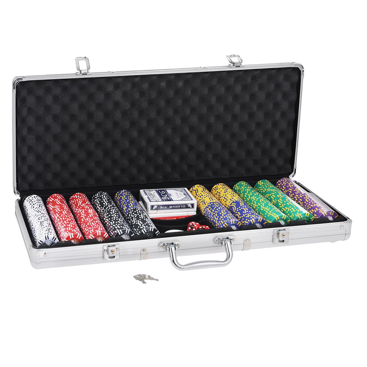 Набор для покера Компания Игра Дипломат для покера Роял Флеш (2х54л.(карты Китай)+5 игр.кост.+500 ф. по 9г с номин.+ф.дилера) ГД4/500к серебристый снять защиту с флеш карты