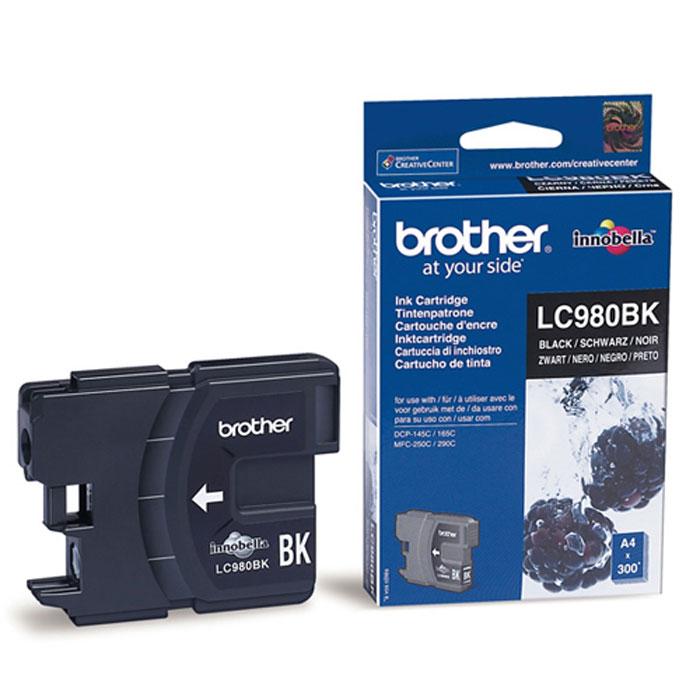 Картридж Brother LC980BK, черный, для струйного принтера картридж для мфу brother lc970y yellow