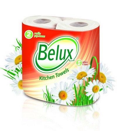 Полотенца кухонные бумажные Belux, двухслойные, цвет: белый, 2 рулона полотенца кухонные belux 200 шт