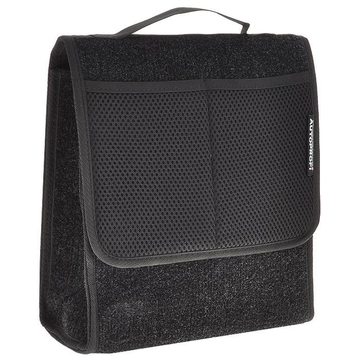 Сумка-органайзер в багажник Autoprofi Travel, ковролиновая, цвет: черный. ORG-10 BK органайзер в багажник travel org 35 bk 70х32х30см брезент прозрачный клапан чёрный