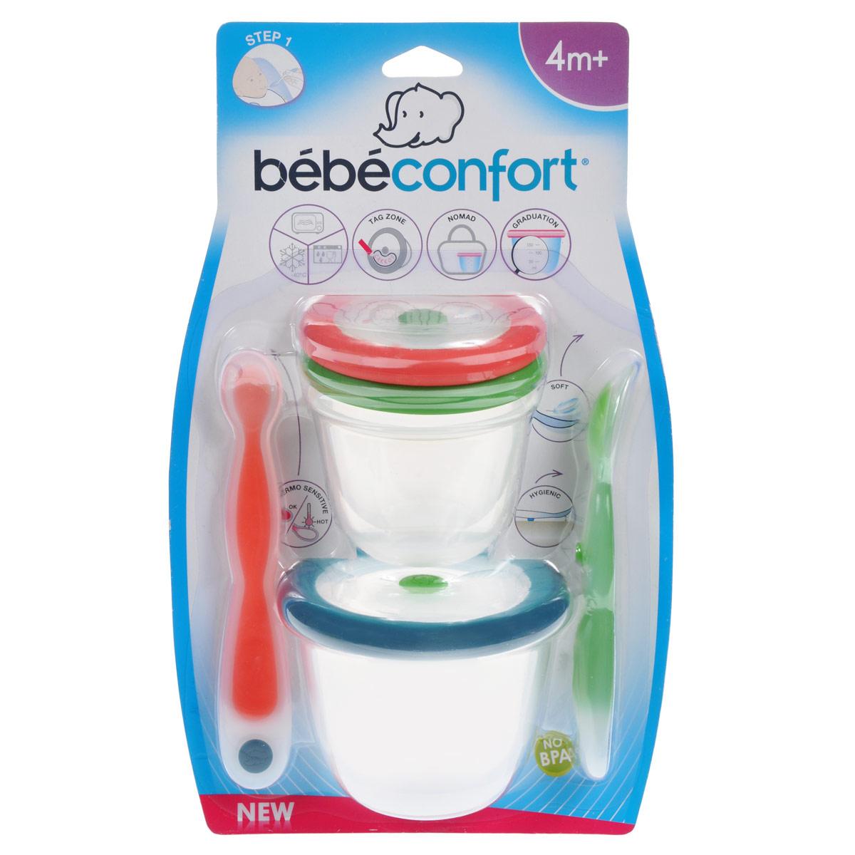 Набор для кормления Bebe Confort, от 4 месяцев, 5 предметов набор из трех зубных щеток bebe confort 0 36 месяцев