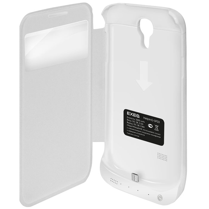 EXEQ HelpinG-SF03 чехол-аккумулятор для Samsung Galaxy S4, White (3300 мАч, Smart cover, флип-кейс)