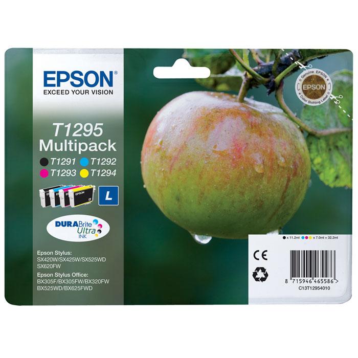 цена на Картридж Epson T1295, черный, голубой, желтый, пурпурный, для струйного принтера, оригинал