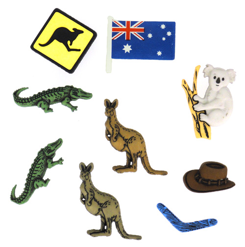 "Набор пуговиц и фигурок Dress It Up ""Австралия"", 9 шт. 7704068"